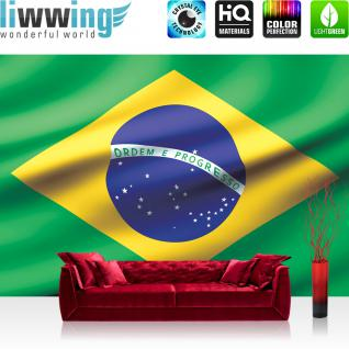 liwwing Vlies Fototapete 312x219cm PREMIUM PLUS Wand Foto Tapete Wand Bild Vliestapete - Geographie Tapete Flagge Fahne Brasilien Land Welt grün - no. 2935