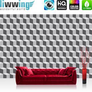 liwwing Vlies Fototapete 416x254cm PREMIUM PLUS Wand Foto Tapete Wand Bild Vliestapete - Texturen Tapete Würfel Muster Kunst Abstrakt grau - no. 2594