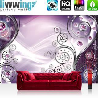 liwwing Vlies Fototapete 400x280 cm PREMIUM PLUS Wand Foto Tapete Wand Bild Vliestapete - 3D Tapete Abstrakt Streifen Linien Nieten Schnörkel Blüte 3D lila - no. 802