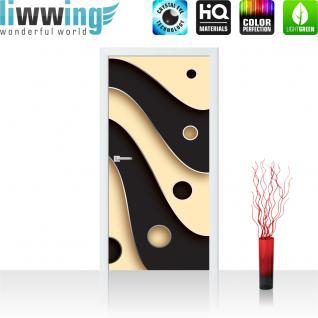 liwwing Türtapete selbstklebend 91x211 cm PREMIUM PLUS Tür Fototapete Türposter Türpanel Foto Tapete Bild - Abstrakt Streifen Kreise - no. 808 - Vorschau 1