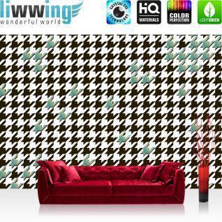 liwwing Vlies Fototapete 350x245 cm PREMIUM PLUS Wand Foto Tapete Wand Bild Vliestapete - Illustrationen Tapete Abstrakt Zeichen Muster blau schwarz - no. 360