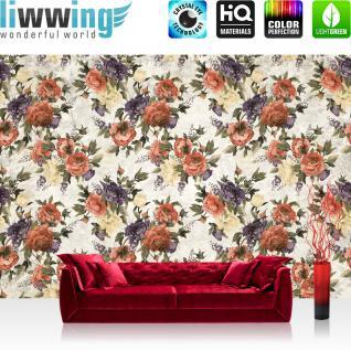liwwing Vlies Fototapete 416x254cm PREMIUM PLUS Wand Foto Tapete Wand Bild Vliestapete - Blumen Tapete Blüten Blätter Pflanze Kunst Muster weiß - no. 1920