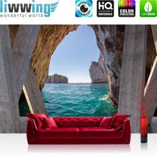 liwwing Vlies Fototapete 416x254cm PREMIUM PLUS Wand Foto Tapete Wand Bild Vliestapete - Wasser Tapete Meer Felsen Pfeiler Himmel grau - no. 2295
