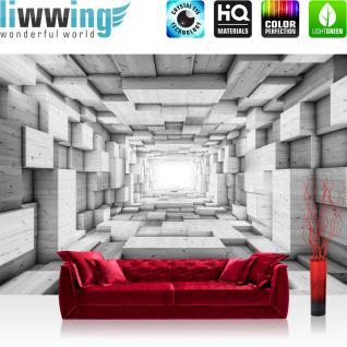 liwwing Fototapete 368x254 cm PREMIUM Wand Foto Tapete Wand Bild Papiertapete - 3D Tapete Kunst Kisten Holz Tunnel Licht Rechtecke 3D Optik grau - no. 1401