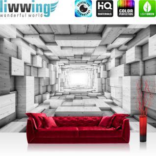 liwwing Vlies Fototapete 312x219cm PREMIUM PLUS Wand Foto Tapete Wand Bild Vliestapete - 3D Tapete Kunst Kisten Holz Tunnel Licht Rechtecke 3D Optik grau - no. 1401