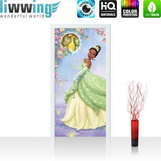 liwwing Türtapete selbstklebend 91x211 cm PREMIUM PLUS Tür Fototapete Türposter Türpanel Foto Tapete Bild - DISNEY Küss den Frosch Tiana Kindertapete Cartoon Prinzessin - no. 1092