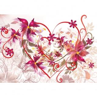 Fototapete Ornamente Tapete Liebe Herzen Blume Schmetterling Blätter Ranke rot | no. 1449