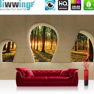 liwwing Vlies Fototapete 312x219cm PREMIUM PLUS Wand Foto Tapete Wand Bild Vliestapete - Architektur Tapete Wald Bäume Natur Sonnenaufgang Baustil Bauform orange - no. 1508
