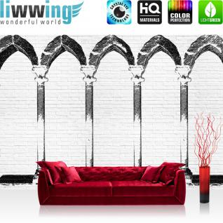 liwwing Fototapete 368x254 cm PREMIUM Wand Foto Tapete Wand Bild Papiertapete - Steinwand Tapete Steinoptik Steine Malerei Bogen Säulen weiß - no. 2415