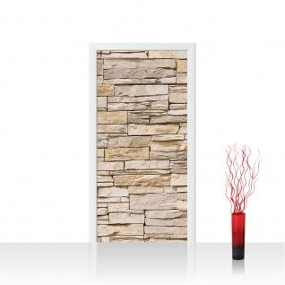 Türtapete - Asian Stone Wall - beige Steinwand Steinoptik Verblendsteine Wandverblender | no. 129