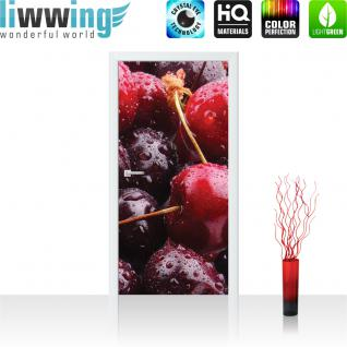 liwwing Türtapete selbstklebend 91x211 cm PREMIUM PLUS Tür Fototapete Türposter Türpanel Foto Tapete Bild - Kirschen Früchte Obst - no. 582