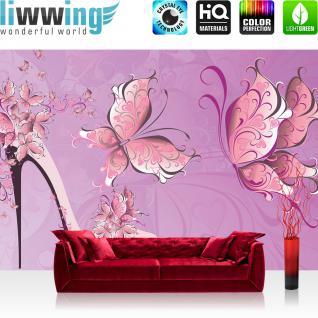 liwwing Vlies Fototapete 312x219cm PREMIUM PLUS Wand Foto Tapete Wand Bild Vliestapete - Kunst Tapete Abstrakt Schmetterlinge Schuh High Heel Schlingen pink - no. 1680