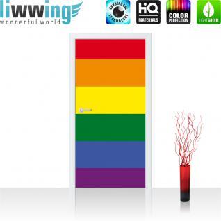 liwwing Vlies Türtapete 91x211 cm PREMIUM PLUS Tür Fototapete Türposter Türpanel Foto Tapete Bild - Regenbogen Flagge Fahne - no. 1039