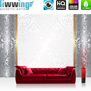 liwwing Fototapete 254x168 cm PREMIUM Wand Foto Tapete Wand Bild Papiertapete - Ornamente Tapete Abstrakt Schnörkel Muster Streifen Linie silber - no. 551