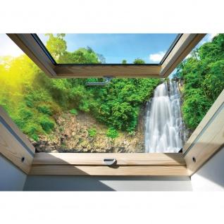 Fototapete Berge Tapete Wasserfall, Wald, Fenster, Tropen natural | no. 3304