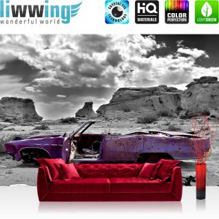 liwwing Vlies Fototapete 350x245 cm PREMIUM PLUS Wand Foto Tapete Wand Bild Vliestapete - Abstrakt altes Auto Landschaft - no. 266