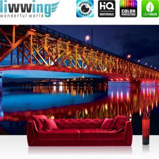 liwwing Vlies Fototapete 312x219cm PREMIUM PLUS Wand Foto Tapete Wand Bild Vliestapete - Brücken Tapete Brücke Bridge Wasser Nacht See bunt - no. 1845