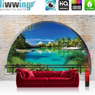 liwwing Vlies Fototapete 312x219cm PREMIUM PLUS Wand Foto Tapete Wand Bild Vliestapete - Meer Tapete Paradies Palmen Wasser Urlaub Steinwand blau - no. 2458