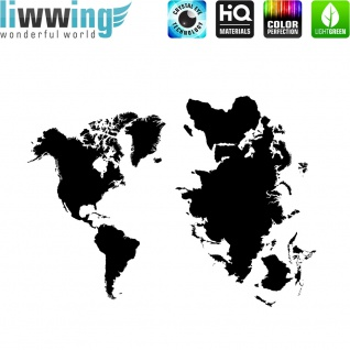 Wandsticker - No. 4748 Wandtattoo Sticker Landkarte Welt Globus Amerika Afrika Länder Erde
