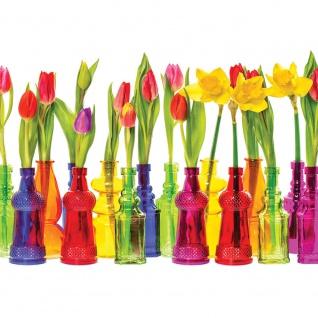 Fototapete Blumen Tapete Blume Tulpe Blüte Blätter Vase Frühling bunt | no. 2357