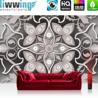 liwwing Vlies Fototapete 416x254cm PREMIUM PLUS Wand Foto Tapete Wand Bild Vliestapete - Ornamente Tapete Blume Blüte Diamant Kunst Muster grau - no. 2029