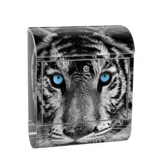 Edelstahl Wandbriefkasten XXL mit Motiv & Zeitungsrolle | Tiger Gesicht Auge blau schwarz-weiß | no. 0426
