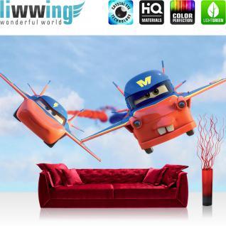 liwwing Vlies Fototapete 208x146cm PREMIUM PLUS Wand Foto Tapete Wand Bild Vliestapete - Disney Tapete Planes Kindertapete Cartoons Autos Flugzeug Wolken Himmel blau - no. 1398
