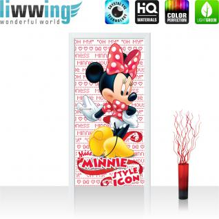 liwwing Türtapete selbstklebend 91x211 cm PREMIUM PLUS Tür Fototapete Türposter Türpanel Foto Tapete Bild - DISNEY Minnie Mouse Kindertapete Cartoon Maus Schleife - no. 1085