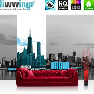 liwwing Fototapete 368x254 cm PREMIUM Wand Foto Tapete Wand Bild Papiertapete - USA Tapete Skyline USA Amerika Wasser Stadt schwarz weiß - no. 2896