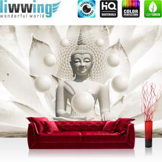 liwwing Vlies Fototapete 312x219cm PREMIUM PLUS Wand Foto Tapete Wand Bild Vliestapete - Wellness Tapete Buddha Meditation Entspannung Kugeln weiß - no. 2149