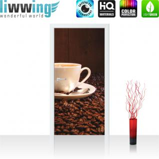 liwwing Vlies Türtapete 91x211 cm PREMIUM PLUS Tür Fototapete Türposter Türpanel Foto Tapete Bild - Kaffeetasse Kaffeebohnen - no. 866