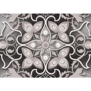 Fototapete Ornamente Tapete Blume Blüte Diamant Kunst Muster grau   no. 2029