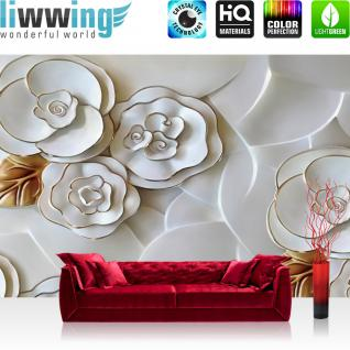 liwwing Vlies Fototapete 312x219cm PREMIUM PLUS Wand Foto Tapete Wand Bild Vliestapete - Blumen Tapete Blüten Blätter Rosen Kunst weiß - no. 2698