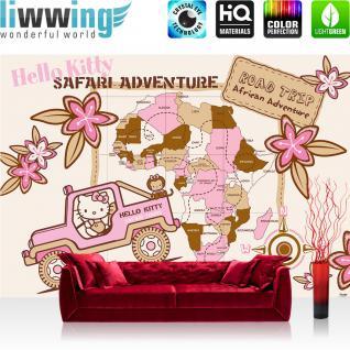 liwwing Vlies Fototapete 312x219cm PREMIUM PLUS Wand Foto Tapete Wand Bild Vliestapete - Mädchen Tapete Sanrio Hello Kitty Katze Cartoon Illustration Kindertapete rosa - no. 3154