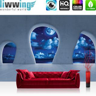 liwwing Vlies Fototapete 416x254cm PREMIUM PLUS Wand Foto Tapete Wand Bild Vliestapete - Architektur Tapete Himmel Nacht Sterne Mond Wolken Meer Baustil Bauform blau - no. 2394