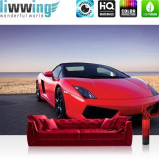liwwing Vlies Fototapete 104x50.5cm PREMIUM PLUS Wand Foto Tapete Wand Bild Vliestapete - Autos Tapete Auto Sportwagen Strand Meer Himmel rot - no. 2919
