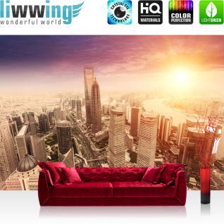 liwwing Vlies Fototapete 350x245 cm PREMIUM PLUS Wand Foto Tapete Wand Bild Vliestapete - SUNSET SKYLINE - Skyline Shanghai Wolkenkratzer Hochhäuser - no. 050