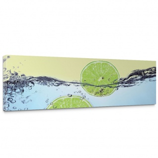 Leinwandbild Limettenscheiben Wasser Zitrone Limone | no. 295