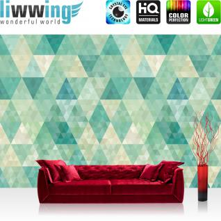 liwwing Vlies Fototapete 254x184cm PREMIUM PLUS Wand Foto Tapete Wand Bild Vliestapete - Ornamente Tapete Polygone Dreiecke Rauten grün - no. 3405