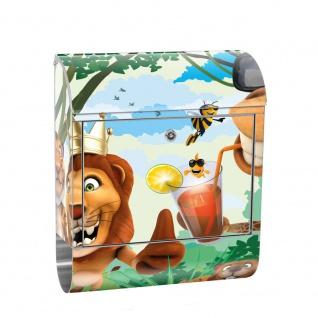 Edelstahl Wandbriefkasten XXL mit Motiv & Zeitungsrolle   Kinder Zoo Tiere Safari Comic Party Dschungel   no. 0087