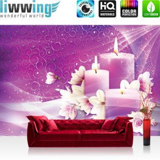 liwwing Vlies Fototapete 254x184cm PREMIUM PLUS Wand Foto Tapete Wand Bild Vliestapete - Illustrationen Tapete Blüten Rosen Tulpen Kerzen pink - no. 3444