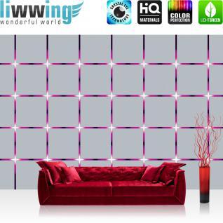 liwwing Fototapete 254x168 cm PREMIUM Wand Foto Tapete Wand Bild Papiertapete - 3D Tapete Kacheln Lichter Kunst Design 3D Optik lila - no. 2009