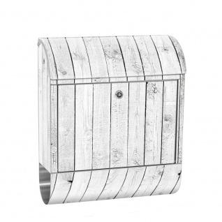 Edelstahl Wandbriefkasten XXL mit Motiv & Zeitungsrolle   Holzoptik Holz Holzpaneel weißes Holz   no. 0085