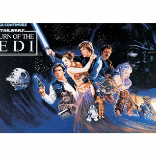 Fototapete Kindertapete Tapete STAR WARS Kindertapete Todesstern Jedi Chewbacca Leia blau | no. 2102