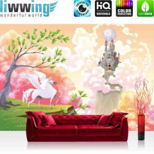 liwwing Vlies Fototapete 350x245 cm PREMIUM PLUS Wand Foto Tapete Wand Bild Vliestapete - MAGIC PEGASUS - Kinderzimmer Kindertapete Mädchen Einhorn Märchen Pastell - no. 086