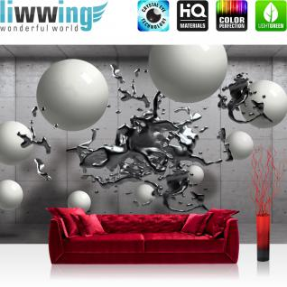 liwwing Vlies Fototapete 312x219cm PREMIUM PLUS Wand Foto Tapete Wand Bild Vliestapete - 3D Tapete Wand Platten Splash Kunst Abstrakt Illustration Kugeln grau - no. 3001