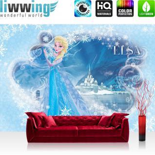 liwwing Vlies Fototapete 416x254cm PREMIUM PLUS Wand Foto Tapete Wand Bild Vliestapete - Disney Tapete Die Eiskönigin Frozen Kindertapete Cartoon Prinzessin Elsa blau - no. 2320