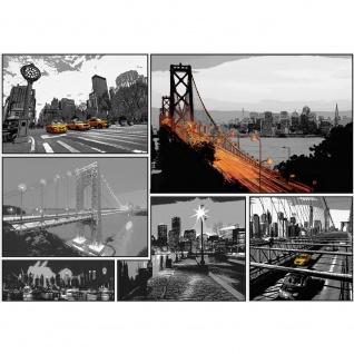 Fototapete New York Tapete Manhattan, Hudson River, Skyline, Cabs, Nacht schwarz - weiß | no. 3447