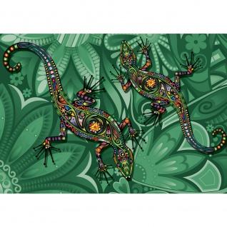 Fototapete Kunst Tapete Malerei Salamander Eidechse Blumen Blüten grün | no. 2040