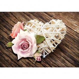Fototapete Blumen Tapete Rose Blume Blüte Herz Holz braun | no. 1542